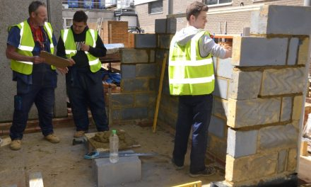 College students working togerther on building project