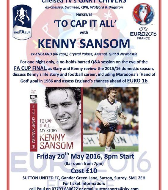 Soccer star Kenny Sansom to visit Gander Green Lane for evening
