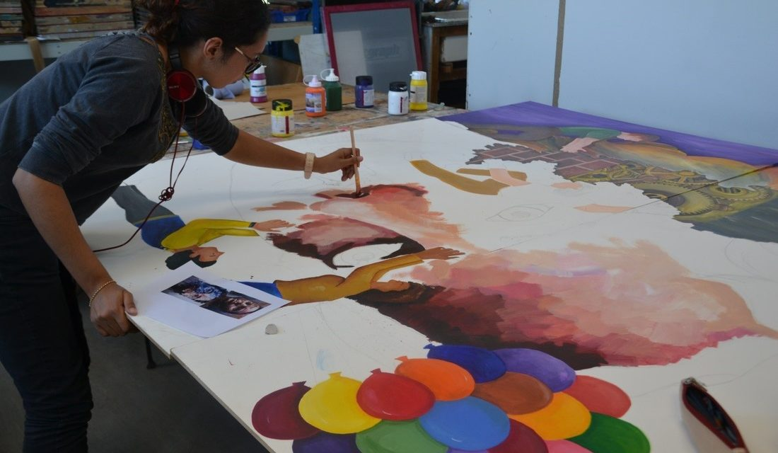 Carshalton College art students create mural for training centre