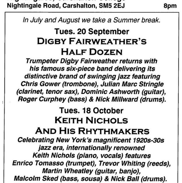 Autumn programme announced by Carshalton Jazz Club