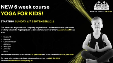 New yoga course for children at The Sports Village