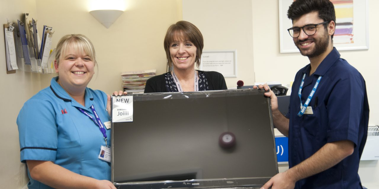 AMU sparkles as new television donated by patient is switched on at hospital