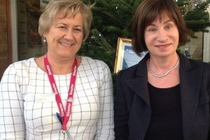 Chief-Nurse-Charlotte-Hall-and-Dr-Martine-Meyer-Consultant-in-Palliative-Medicine-switched-on-the-lights-at-Epsom-hospital