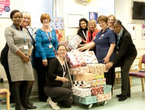 Maggie-George-far-right-with-colleagues-for-the-shoebox-appeal-campaign.