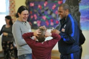 Mark Bright played a healthy food game with parents and pupils