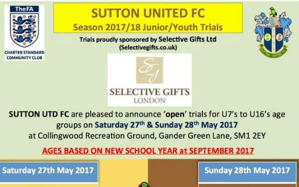 Calling all young footballers – here is your chance for a trial with Sutton United