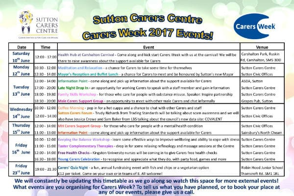 Sutton Carers Centre planning huge range of activities for Carers Week